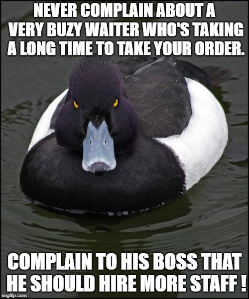 Angry duck | NEVER COMPLAIN ABOUT A VERY BUZY WAITER WHO'S TAKING A LONG TIME TO TAKE YOUR ORDER. COMPLAIN TO HIS BOSS THAT HE SHOULD HIRE MORE STAFF ! | image tagged in angry duck,AdviceAnimals | made w/ Imgflip meme maker