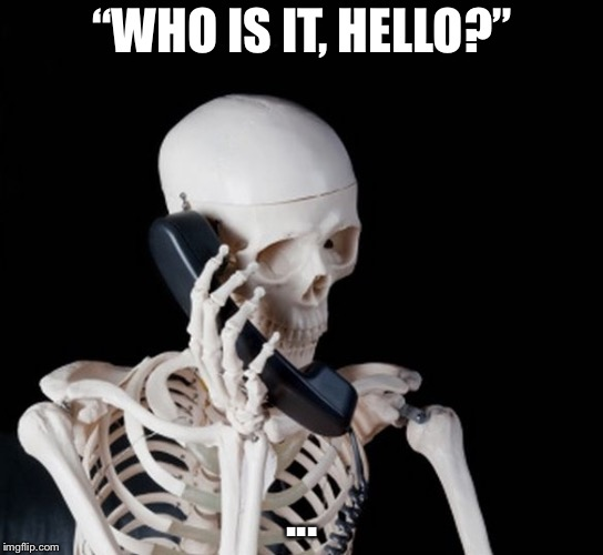 "Skeleton on phone |  ""WHO IS IT, HELLO?""; ... 