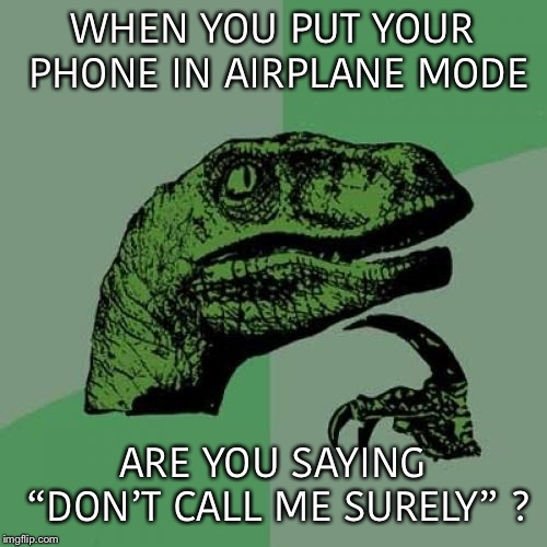 "I wonder how many people will get this???? | WHEN YOU PUT YOUR PHONE IN AIRPLANE MODE ARE YOU SAYING ""DON'T CALL ME SURELY"" ? 