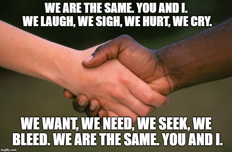WE ARE THE SAME. YOU AND I. WE LAUGH, WE SIGH, WE HURT, WE CRY. WE WANT, WE NEED, WE SEEK, WE BLEED. WE ARE THE SAME. YOU AND I. | image tagged in together,black lives matter,white power,segregation,liberals,democrats | made w/ Imgflip meme maker