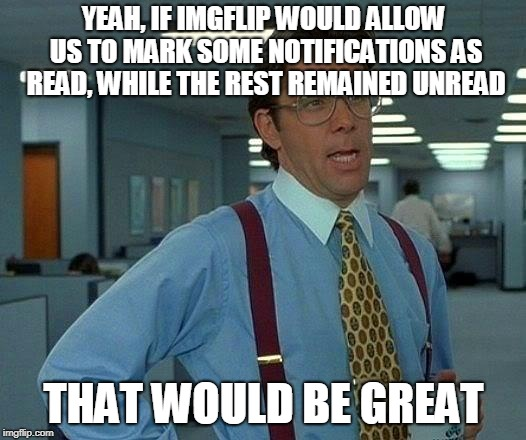 That Would Be Great Meme | YEAH, IF IMGFLIP WOULD ALLOW US TO MARK SOME NOTIFICATIONS AS READ, WHILE THE REST REMAINED UNREAD THAT WOULD BE GREAT | image tagged in memes,that would be great | made w/ Imgflip meme maker