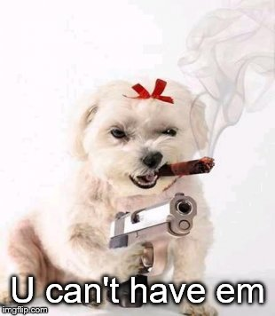 Dog with gun | U can't have em | image tagged in dog with gun | made w/ Imgflip meme maker