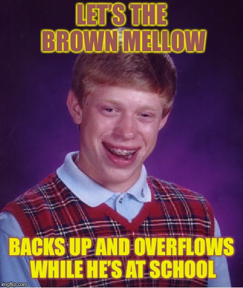 Bad Luck Brian Meme | LET'S THE BROWN MELLOW BACKS UP AND OVERFLOWS WHILE HE'S AT SCHOOL | image tagged in memes,bad luck brian | made w/ Imgflip meme maker