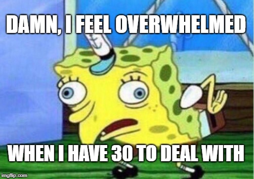 Mocking Spongebob Meme | DAMN, I FEEL OVERWHELMED WHEN I HAVE 30 TO DEAL WITH | image tagged in memes,mocking spongebob | made w/ Imgflip meme maker