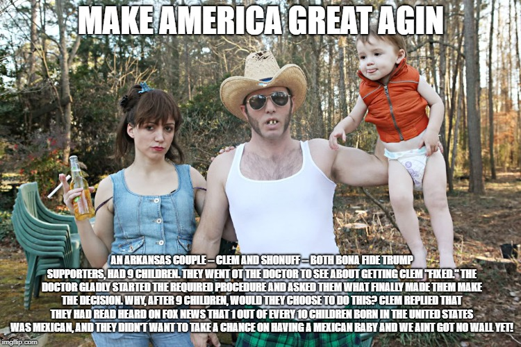 Trump Supporter | MAKE AMERICA GREAT AGIN AN ARKANSAS COUPLE -- CLEM AND SHONUFF -- BOTH BONA FIDE TRUMP SUPPORTERS, HAD 9 CHILDREN. THEY WENT OT THE DOCTOR T | image tagged in trump,wall,hillary,fake,collusion,make america great | made w/ Imgflip meme maker