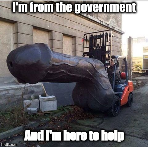 I'm from the government And I'm here to help | image tagged in government,memes,forklift,penis | made w/ Imgflip meme maker
