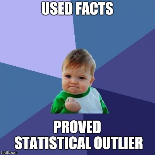 Success Kid Meme | USED FACTS PROVED STATISTICAL OUTLIER | image tagged in memes,success kid | made w/ Imgflip meme maker