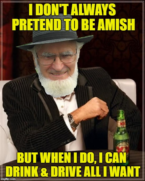 The horse knows the way home | I DON'T ALWAYS PRETEND TO BE AMISH BUT WHEN I DO, I CAN DRINK & DRIVE ALL I WANT | image tagged in funny memes,amish,horsepower,dui,drinking | made w/ Imgflip meme maker