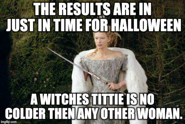 Lion The Witch And The Wardrobe | THE RESULTS ARE IN JUST IN TIME FOR HALLOWEEN A WITCHES TITTIE IS NO COLDER THEN ANY OTHER WOMAN. | image tagged in memes,witch,halloween | made w/ Imgflip meme maker