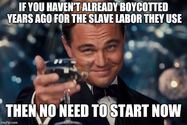 Leonardo Dicaprio Cheers Meme | IF YOU HAVEN'T ALREADY BOYCOTTED YEARS AGO FOR THE SLAVE LABOR THEY USE THEN NO NEED TO START NOW | image tagged in memes,leonardo dicaprio cheers | made w/ Imgflip meme maker