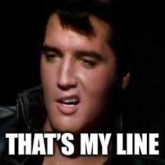 Elvis, thank you | THAT'S MY LINE | image tagged in elvis thank you | made w/ Imgflip meme maker