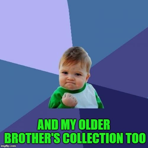 Success Kid Meme | AND MY OLDER BROTHER'S COLLECTION TOO | image tagged in memes,success kid | made w/ Imgflip meme maker