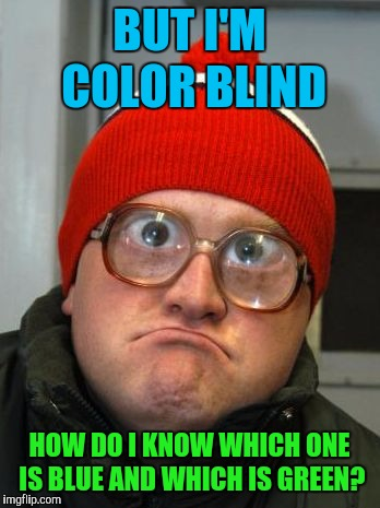 blind duh | BUT I'M COLOR BLIND HOW DO I KNOW WHICH ONE IS BLUE AND WHICH IS GREEN? | image tagged in blind duh | made w/ Imgflip meme maker