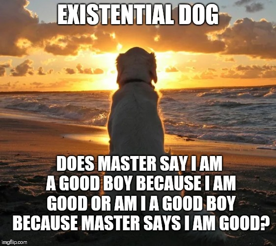 Existential dog | EXISTENTIAL DOG DOES MASTER SAY I AM A GOOD BOY BECAUSE I AM GOOD OR AM I A GOOD BOY BECAUSE MASTER SAYS I AM GOOD? | image tagged in philosophy,euthyphro | made w/ Imgflip meme maker