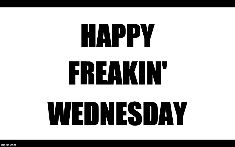 Blank White | HAPPY WEDNESDAY FREAKIN' | image tagged in blank white,wednesday | made w/ Imgflip meme maker