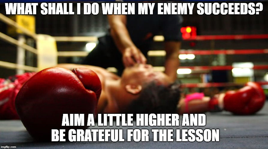 WHAT SHALL I DO WHEN MY ENEMY SUCCEEDS? AIM A LITTLE HIGHER AND BE GRATEFUL FOR THE LESSON | image tagged in boxing,losing,winning,success,jordan peterson,sports | made w/ Imgflip meme maker
