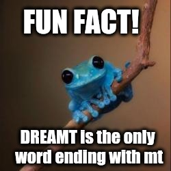 Fun Fact Frog | FUN FACT! DREAMT is the only word ending with mt | image tagged in fun fact frog | made w/ Imgflip meme maker