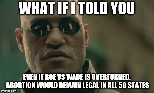 Matrix Morpheus Meme | WHAT IF I TOLD YOU EVEN IF ROE VS WADE IS OVERTURNED, ABORTION WOULD REMAIN LEGAL IN ALL 50 STATES | image tagged in memes,matrix morpheus | made w/ Imgflip meme maker