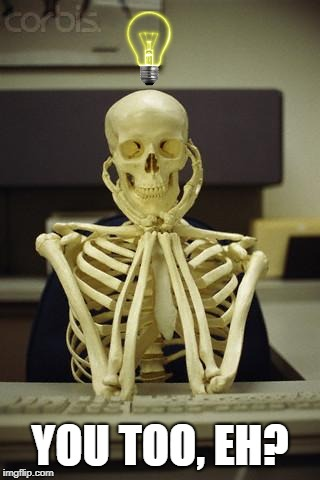 Waiting Skeleton | YOU TOO, EH? | image tagged in waiting skeleton | made w/ Imgflip meme maker