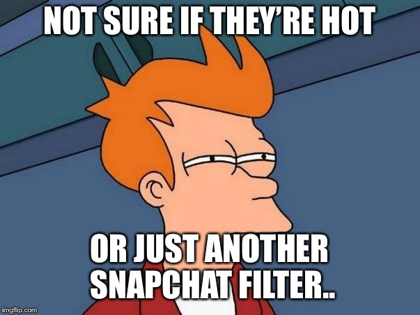 Not sure if- fry |  NOT SURE IF THEY'RE HOT; OR JUST ANOTHER SNAPCHAT FILTER.. | image tagged in not sure if- fry | made w/ Imgflip meme maker