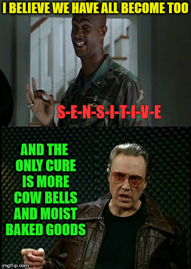 Can't we all just get along?! | I BELIEVE WE HAVE ALL BECOME TOO AND THE ONLY CURE IS MORE COW BELLS AND MOIST BAKED GOODS S-E-N-S-I-T-I-V-E | image tagged in memes,major payne,overly sensitive,christopher walken,what if i told you | made w/ Imgflip meme maker
