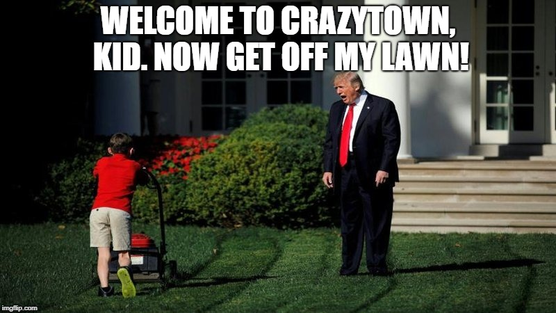 Trump loves Crazytown! | WELCOME TO CRAZYTOWN, KID. NOW GET OFF MY LAWN! | image tagged in crazytown,crazy,town,trump,woodward,mueller | made w/ Imgflip meme maker