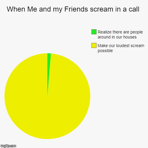 When Me and my Friends scream in a call | Make our loudest scream possible, Realize there are people around in our houses | image tagged in funny,pie charts | made w/ Imgflip chart maker