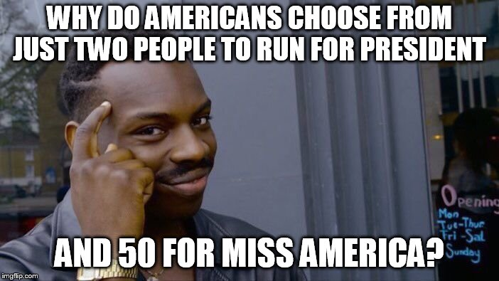Roll Safe Think About It Meme | WHY DO AMERICANS CHOOSE FROM JUST TWO PEOPLE TO RUN FOR PRESIDENT AND 50 FOR MISS AMERICA? | image tagged in memes,roll safe think about it | made w/ Imgflip meme maker