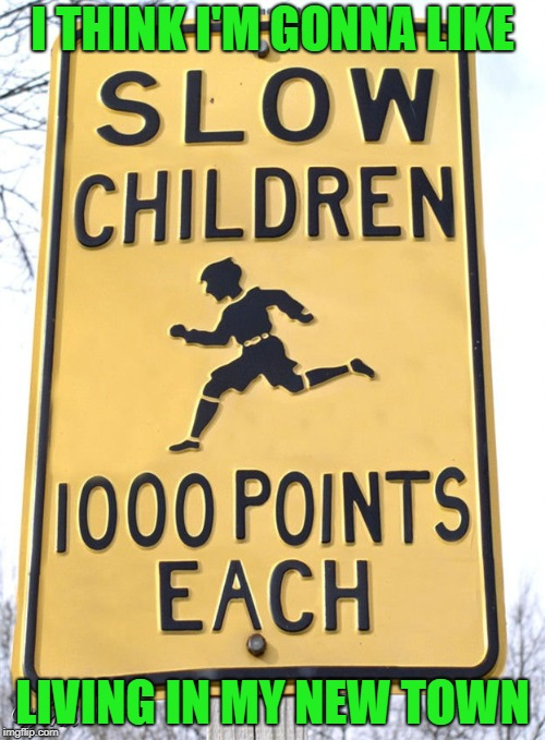 The movie Death Race 2000 comes to mind...LOL | I THINK I'M GONNA LIKE LIVING IN MY NEW TOWN | image tagged in slow children,memes,funny signs,street signs,funny | made w/ Imgflip meme maker