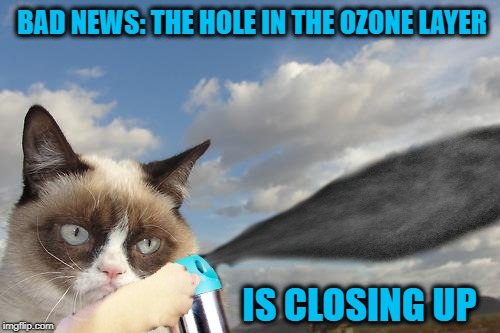 Grumpy Cat - Bad intentions | BAD NEWS: THE HOLE IN THE OZONE LAYER IS CLOSING UP | image tagged in funny memes,grumpy cat,cat,ozone layer,kill everyone | made w/ Imgflip meme maker