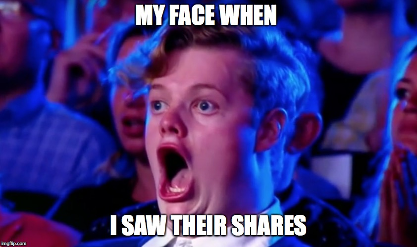 Surprised Open Mouth | MY FACE WHEN I SAW THEIR SHARES | image tagged in surprised open mouth | made w/ Imgflip meme maker