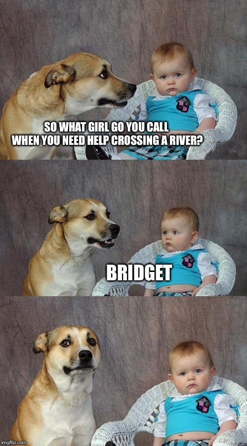 Dad Joke Dog Meme | SO WHAT GIRL GO YOU CALL WHEN YOU NEED HELP CROSSING A RIVER? BRIDGET | image tagged in memes,dad joke dog | made w/ Imgflip meme maker