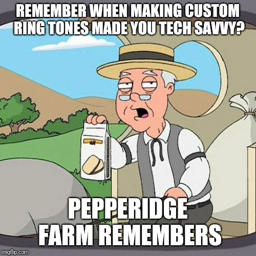 .midi | REMEMBER WHEN MAKING CUSTOM RING TONES MADE YOU TECH SAVVY? PEPPERIDGE FARM REMEMBERS | image tagged in memes,pepperidge farm remembers,ringtone,technology | made w/ Imgflip meme maker