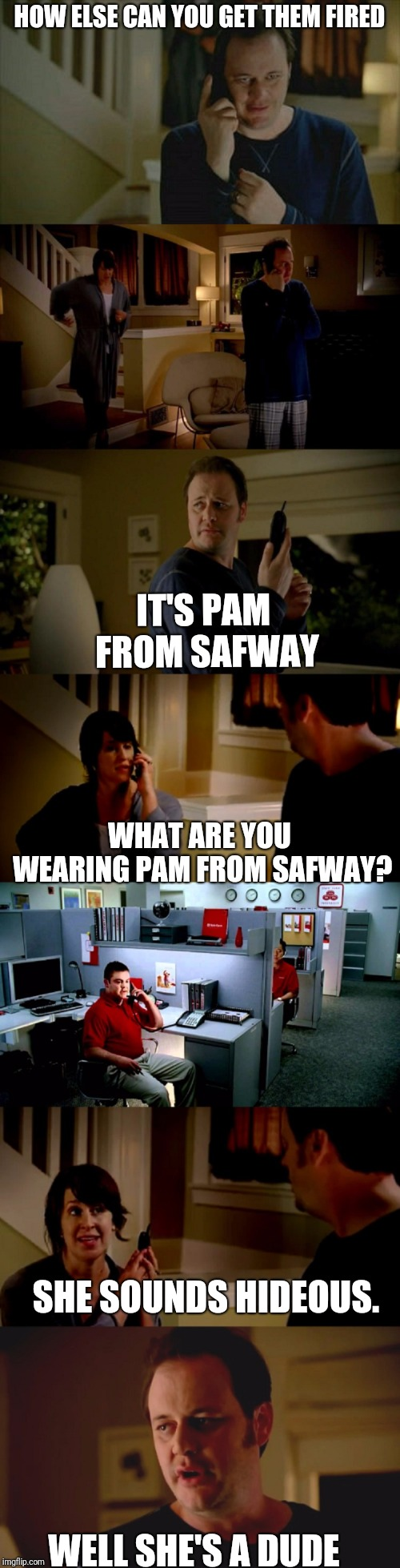 Jake From State Farm | HOW ELSE CAN YOU GET THEM FIRED WELL SHE'S A DUDE IT'S PAM FROM SAFWAY WHAT ARE YOU WEARING PAM FROM SAFWAY? SHE SOUNDS HIDEOUS. | image tagged in jake from state farm | made w/ Imgflip meme maker