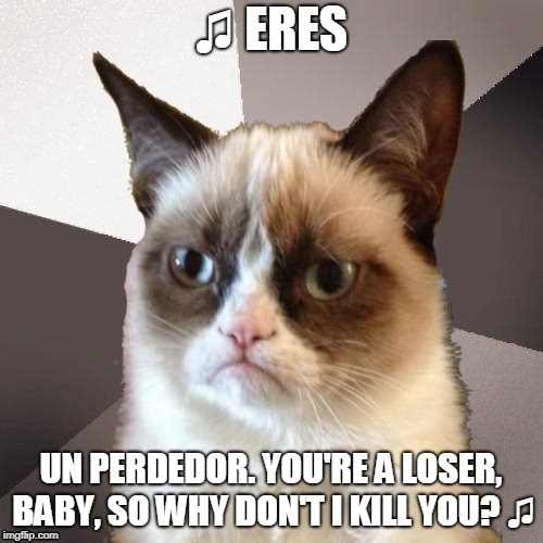 Musically Malicious Grumpy Cat | ♫ ERES UN PERDEDOR. YOU'RE A LOSER, BABY, SO WHY DON'T I KILL YOU? ♫ | image tagged in musically malicious grumpy cat,grumpy cat | made w/ Imgflip meme maker