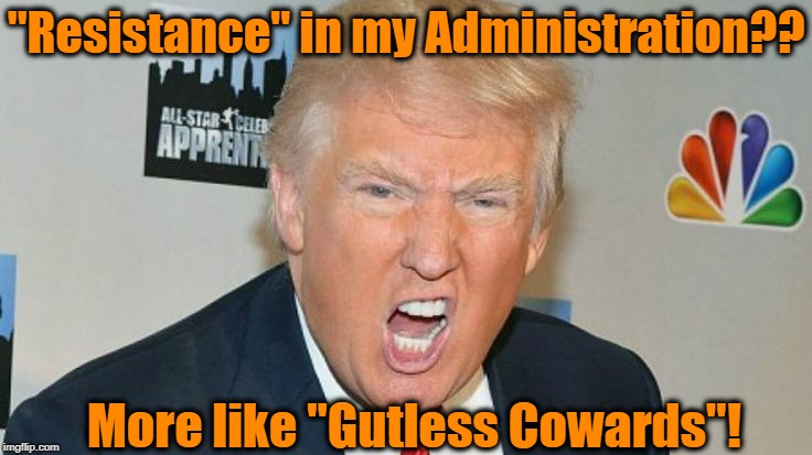 "Betrayal is the act of a weakling! | ""Resistance"" in my Administration?? More like ""Gutless Cowards""! 
