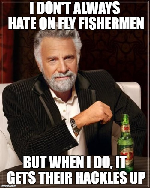 The Most Interesting Man In The World Meme | I DON'T ALWAYS HATE ON FLY FISHERMEN BUT WHEN I DO, IT GETS THEIR HACKLES UP | image tagged in memes,the most interesting man in the world | made w/ Imgflip meme maker