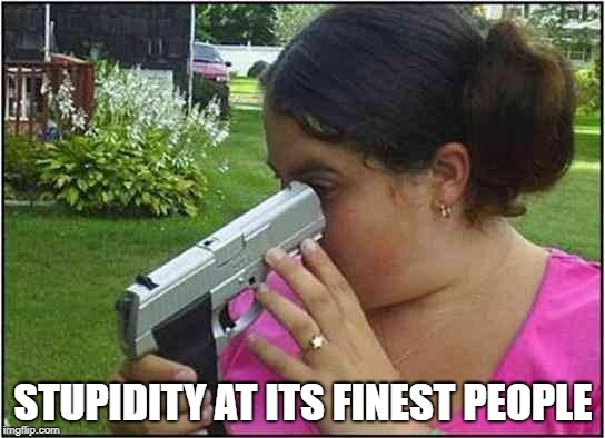 Woman looking down gun barrel | STUPIDITY AT ITS FINEST PEOPLE | image tagged in woman looking down gun barrel | made w/ Imgflip meme maker