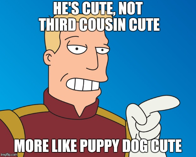 HE'S CUTE, NOT THIRD COUSIN CUTE MORE LIKE PUPPY DOG CUTE | made w/ Imgflip meme maker
