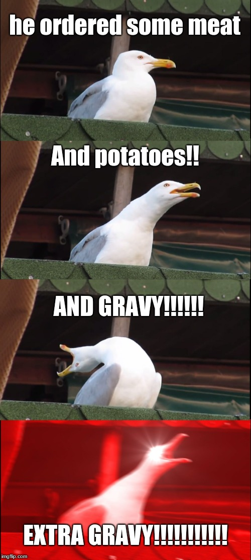Inhaling Seagull | he ordered some meat And potatoes!! AND GRAVY!!!!!! EXTRA GRAVY!!!!!!!!!!! | image tagged in memes,inhaling seagull | made w/ Imgflip meme maker