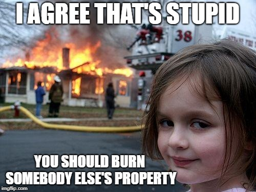 Disaster Girl Meme | I AGREE THAT'S STUPID YOU SHOULD BURN SOMEBODY ELSE'S PROPERTY | image tagged in memes,disaster girl | made w/ Imgflip meme maker