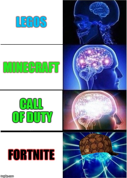 Expanding Brain Meme | LEGOS MINECRAFT CALL OF DUTY FORTNITE | image tagged in memes,expanding brain,scumbag | made w/ Imgflip meme maker