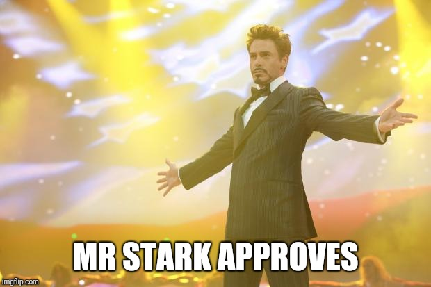 Tony Stark success | MR STARK APPROVES | image tagged in tony stark success | made w/ Imgflip meme maker
