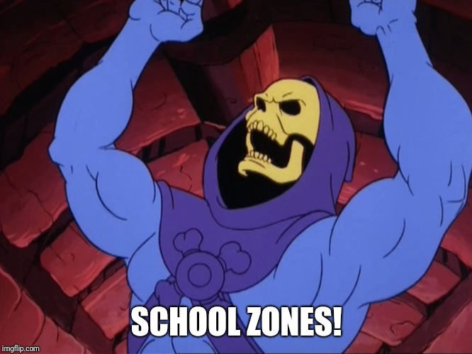 Skeletor | SCHOOL ZONES! | image tagged in skeletor | made w/ Imgflip meme maker