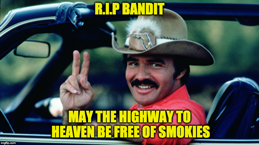 RIP BANDIT | R.I.P BANDIT MAY THE HIGHWAY TO HEAVEN BE FREE OF SMOKIES | image tagged in burt reynolds | made w/ Imgflip meme maker