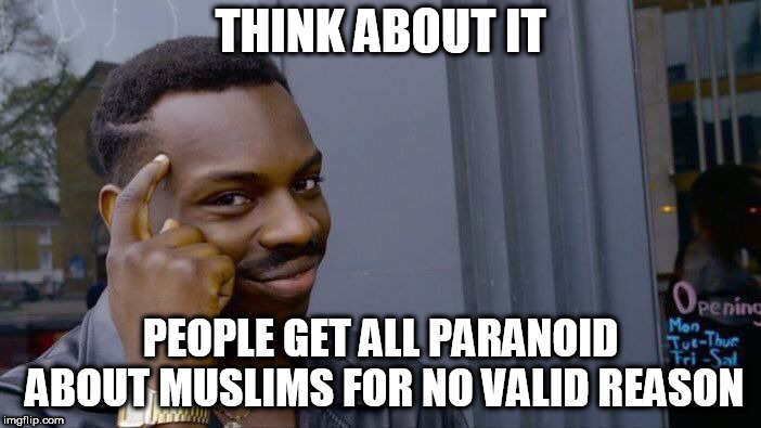 Roll Safe Think About It | THINK ABOUT IT PEOPLE GET ALL PARANOID ABOUT MUSLIMS FOR NO VALID REASON | image tagged in memes,roll safe think about it,islam,muslim,muslims,paranoia | made w/ Imgflip meme maker