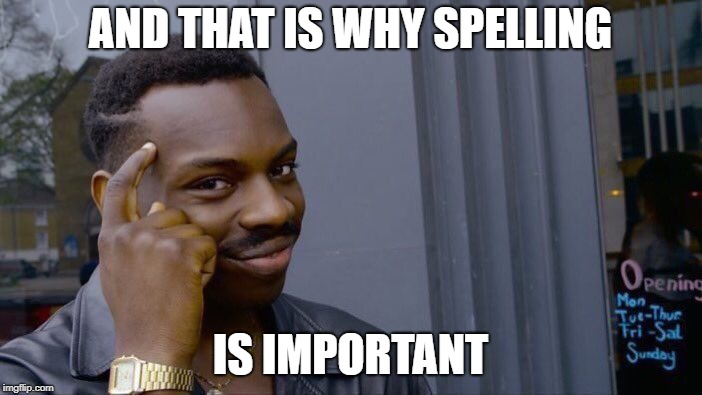 Roll Safe Think About It Meme | AND THAT IS WHY SPELLING IS IMPORTANT | image tagged in memes,roll safe think about it | made w/ Imgflip meme maker