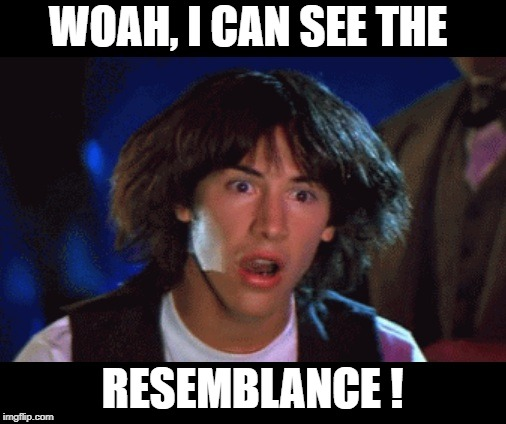 WOAH | WOAH, I CAN SEE THE RESEMBLANCE ! | image tagged in woah | made w/ Imgflip meme maker