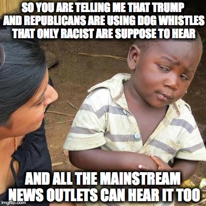 Third World Skeptical Kid Meme | SO YOU ARE TELLING ME THAT TRUMP AND REPUBLICANS ARE USING DOG WHISTLES THAT ONLY RACIST ARE SUPPOSE TO HEAR AND ALL THE MAINSTREAM NEWS OUT | image tagged in memes,third world skeptical kid | made w/ Imgflip meme maker