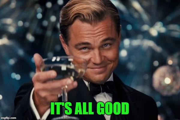 Leonardo Dicaprio Cheers Meme | IT'S ALL GOOD | image tagged in memes,leonardo dicaprio cheers | made w/ Imgflip meme maker